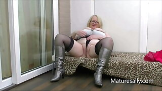 Sally strips down to her silver boots and stockings