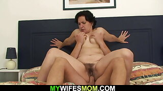Very hairy mother in law in taboo cock riding scene
