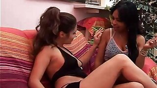 Young lesbo couple masturbates with huge dildo