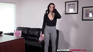 Busty natural Melody ass fucked before 1st casting creampie
