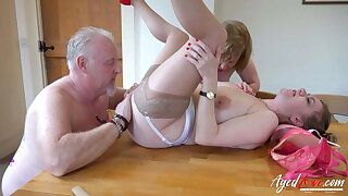 AgedLovE Two Matures and Handy Man in Threesome
