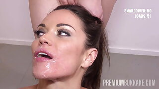 Premium Bukkake - Alyssa Reece swallows 62 mouthful cumshots