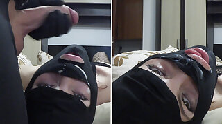 Just A Quick Jerk-Off & Facefuck With A Masked Slut