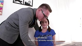 Excited babe seduces tutor into fucking her holes