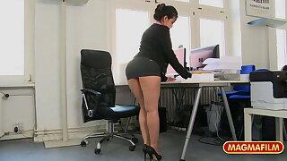 Short skirt office slut fucked at work for a raise